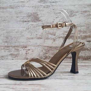NWOT Gold Strappy High Heel Sandals